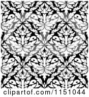 Clipart Of A Black And White Triangular Damask Pattern Seamless Background 27 Royalty Free Vector Clipart