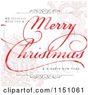 Clipart Of A Merry Christmas Greeting Over Pastel Damask Royalty Free Vector Clipart by BestVector