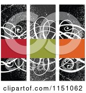 Clipart Of Colorful Frames Over Vertical Grungy Black And White Swirl Banners Royalty Free Vector Clipart