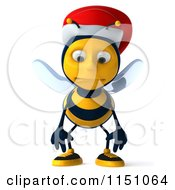 Clipart Of A 3d Christmas Bee Wearing A Santa Hat And Smiling Royalty Free CGI Illustration by Julos