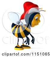 Clipart Of A 3d Christmas Bee Wearing A Santa Hat And Smiling 2 Royalty Free CGI Illustration