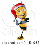 Clipart Of A 3d Christmas Bee Holding A Thumb Up By A Sign Royalty Free CGI Illustration