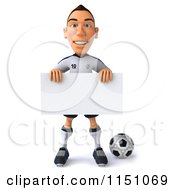 Clipart Of A 3d White German Soccer Player Holding A Sign 3 Royalty Free CGI Illustration