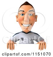 Clipart Of A 3d White German Soccer Player Holding A Sign 4 Royalty Free CGI Illustration
