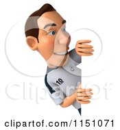 Clipart Of A 3d German Soccer Player Looking Around A Sign Royalty Free CGI Illustration by Julos