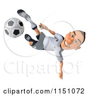 Clipart Of A 3d White German Soccer Player Kicking 3 Royalty Free CGI Illustration by Julos