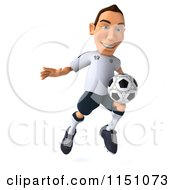 Clipart Of A 3d White German Soccer Player Jumping Royalty Free CGI Illustration by Julos