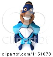 Clipart Of A 3d Smiling Black Super Hero Man In A Blue Costume Royalty Free CGI Illustration