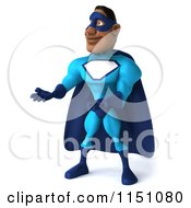 Clipart Of A 3d Presenting Black Super Hero Man In A Blue Costume Royalty Free CGI Illustration