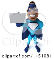 Clipart Of A 3d Smiling Black Super Hero Man Holding A Business Card Royalty Free CGI Illustration