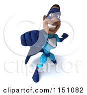 Clipart Of A 3d Punching Black Super Hero Man In A Blue Costume Royalty Free CGI Illustration
