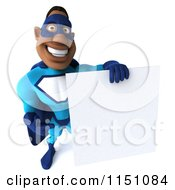 Clipart Of A 3d Black Super Hero Man In A Blue Costume Holding A Sign 4 Royalty Free CGI Illustration