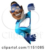 Clipart Of A 3d Black Super Hero Man Smiling Around A Sign Royalty Free CGI Illustration