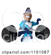 Clipart Of A 3d Smiling Black Super Hero Man Flexing And Lifting A Heavy Barbell Royalty Free CGI Illustration