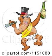 Cartoon Of A Partying New Year Adult Black Man Dancing In A Baby Diaper Sash And Hat Royalty Free Vector Clipart