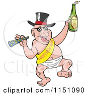 Cartoon Of A Partying New Year Adult Caucasian Man Dancing In A Baby Diaper Sash And Hat Royalty Free Vector Clipart