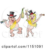 Cartoon Of A Partying New Year Adult Caucasian Couple Dancing In Baby Diapers Sashes And Hats And Holding Alcohol Royalty Free Vector Clipart