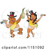 Cartoon Of A Partying New Year Adult Black Couple Dancing In Baby Diapers Sashes And Hats And Holding Alcohol Royalty Free Vector Clipart