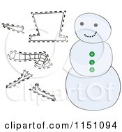 Cartoon Of A Snowman With Cutout Pieces Royalty Free Vector Clipart