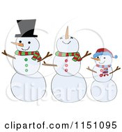 Cartoon Of A Snowman Family Royalty Free Vector Clipart by peachidesigns