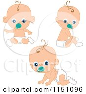 Cartoon Of A Cute Baby Boy With A Pacifier In Three Poses Royalty Free Vector Clipart