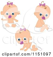 Cartoon Of A Cute Sitting Baby Girl With A Pacifier Royalty Free Vector Clipart