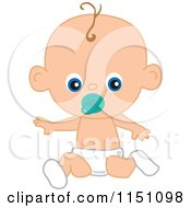 Cartoon Of A Cute Baby Boy With A Pacifier Royalty Free Vector Clipart