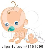 Cartoon Of A Cute Crawling Baby Boy With A Pacifier Royalty Free Vector Clipart