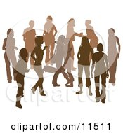 Brown Group Of Silhouetted People Hanging Out In A Crowd Two Friends Hugging Clipart Illustration