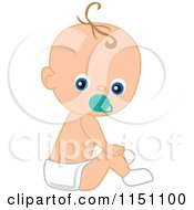 Cartoon Of A Cute Sitting Baby Boy With A Pacifier Royalty Free Vector Clipart