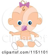 Cute Sitting Baby Girl With A Pacifier