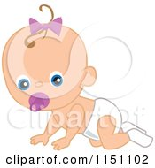 Cartoon Of A Cute Crawling Baby Girl With A Pacifier Royalty Free Vector Clipart