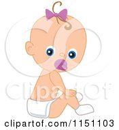 Cartoon Of A Cute Baby Girl With A Pacifier Royalty Free Vector Clipart