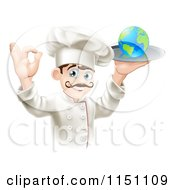 Cartoon Of A Happy Chef Gesturing Ok And Holding A Globe On A Platter Royalty Free Vector Clipart