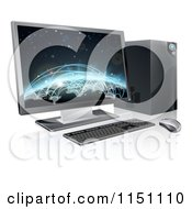 Clipart Of A 3d Destkop Pc With A Globe And Network Connections On The Screen Royalty Free Vector Clipart