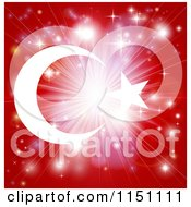 Clipart Of A Bright Burst Of Light Over A Turkish Flag Royalty Free Vector Clipart