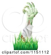 Clipart Of A Decaying Green Zombie Arm Reaching Out Through Grass Royalty Free Vector Clipart