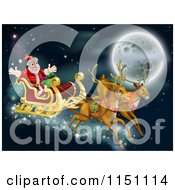 Cartoon Of Santas Reindeer And Sleigh Flying Near The Moon On Christmas Eve Royalty Free Vector Clipart