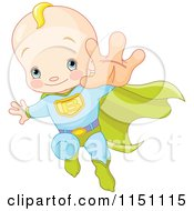 Cartoon Of A Blond Super Baby Boy Flying Royalty Free Vector Clipart