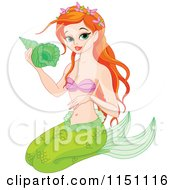 Cartoon Of A Gorgeous Red Haired Mermaid Holding A Shell Royalty Free Vector Clipart