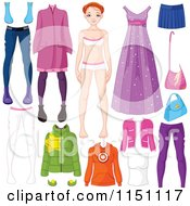 Cartoon Of A Teen Girl With Different Outfits And Accessories Royalty Free Vector Clipart by Pushkin