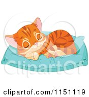 Cartoon Of A Cute Orange Tabby Kitten Sleeping On A Pillow Royalty Free Vector Clipart