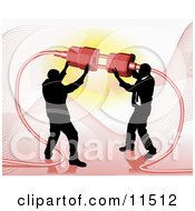 Two Businessmen Working Together To Connect A Plug And Socket Over Red Clipart Illustration