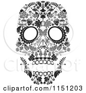 Clipart Of A Black And White Ornate Floral Day Of The Dead Skull Royalty Free Vector Clipart by lineartestpilot #COLLC1151203-0180