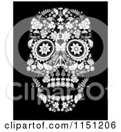Clipart Of A Black And White Ornate Floral Day Of The Dead Skull Royalty Free Vector Clipart by lineartestpilot #COLLC1151206-0180