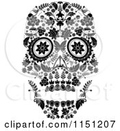 Clipart Of A Black And White Ornate Floral Day Of The Dead Skull Royalty Free Vector Clipart by lineartestpilot #COLLC1151207-0180