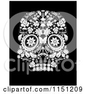 Clipart Of A Black And White Ornate Floral Day Of The Dead Skull Royalty Free Vector Clipart