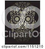 Golden Ornate Floral Day Of The Dead Skull On Black