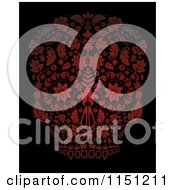 Clipart Of A Red Ornate Floral Day Of The Dead Skull Royalty Free Vector Clipart