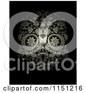 Clipart Of A Golden Ornate Floral Day Of The Dead Skull On Black Royalty Free Vector Clipart
